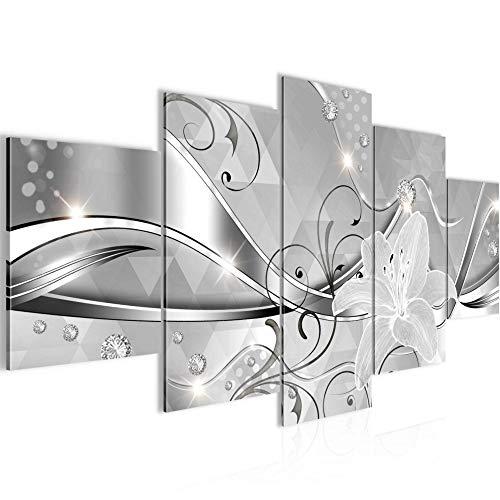 Runa Art - Cuadro Flores Lirios 200 x 100 cm 5 Piezas XXL Decoracion de Pared Diseño En Blanco Y Negro 201351c