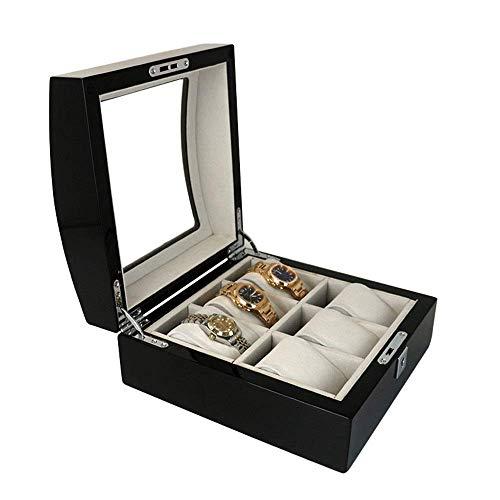 Men's 6 Slots Watch Box Jewelry Box Caja de almacenamiento Caja de almacenamiento Caja de exhibición Piano Paint Watch Box Organizador Vidrio Top Funda con cerradura negro (Color: Negro, Tamaño: 220x2