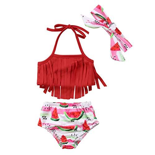 Infant Baby Girl Swimsuit 2 Piece Tassels Watermelon Bathing Suit Baby Girl Bikini Swimwear Beachwear 3-18M (Red, 6-9 Months)