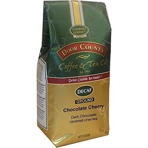 Door County Coffee, Chocolate Cherry Decaf, Flavored Coffee, Medium Roast, Ground Coffee, 10 oz Bag