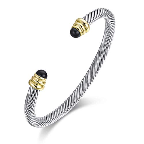 Twisted Cable Bracelet with Black Spinel, Brass Alloy, 5mm