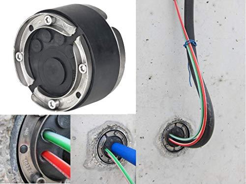 Hauff Ringraumdichtung/Mauerdurchführung HSD 100-EWD DN100 für 5 Kabel/Rohre 4x7-12mm und 1x24-44mm