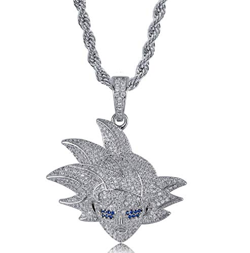Hip Hop Cartoon Iced Out Bling Zirconia Pendant Chain Charm 18K Gold Plated Necklace for Men Women