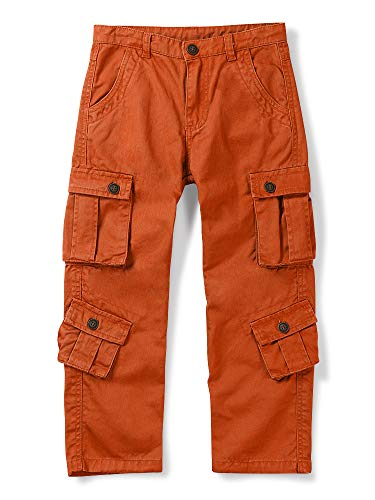OCHENTA Pantalones cargo militares para niño, 8 bolsillos, pantalones casuales para exteriores, naranja/fiesta de bloques, 6 Años