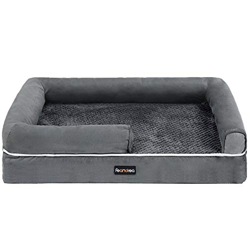 FEANDREA Dog Bed, Orthopedic Dog Sofa, Memory Foam Dog Mat, Removable Cover, Waterproof, Machine Washable, Anti-Slip, Raised Edges, 30 x 19 x 7 Inches, Dark Gray UPGW066G01