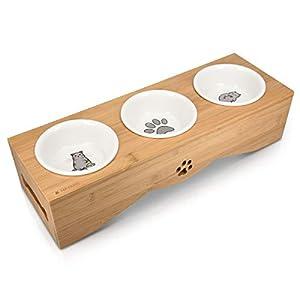 Navaris Futterstation für Katzen und Hunde - Futternapf Set aus Keramik - erhöhter 3er Napf Ständer - 3 x Fressnapf… 2