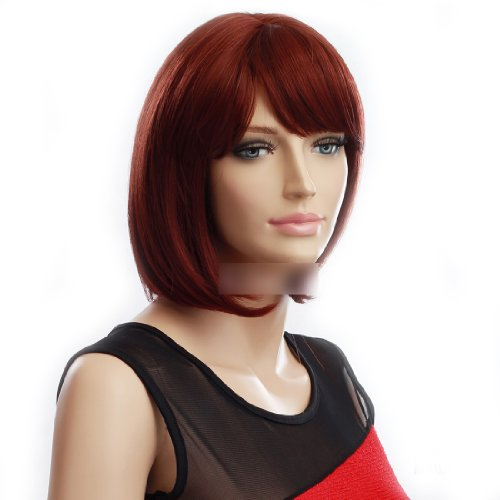 GOOACTION Short Straight Red Auburn Bob Wig for Women Heat Resistant Synthetic Cosplay Party Hair Wigs