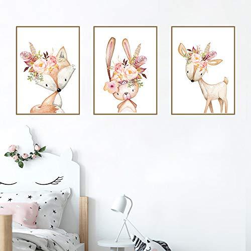 Nordic Ideas Juego de 3 Pósteres Conejo/Ciervo/Zorro Cuadros Infantiles Bebe Láminas Animales Decoracion Niña Habitacion Regalo NPTCG003-M