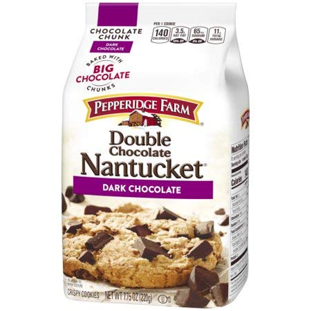 Pepperidge Farm Double Chocolate Nantucket Dark Chocolate Chunk Crispy Cookies 7.75 oz. (Pack of 4) by Pepperidge Farm