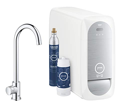 GROHE Blue Home Mono | Küchenarmatur - 2-in-1 TRINKWASSERSYSTEM und Spültischarmatur | gekühlt, gefiltert, OHNE KOHLSÄURE, C-Auslauf | 31498000