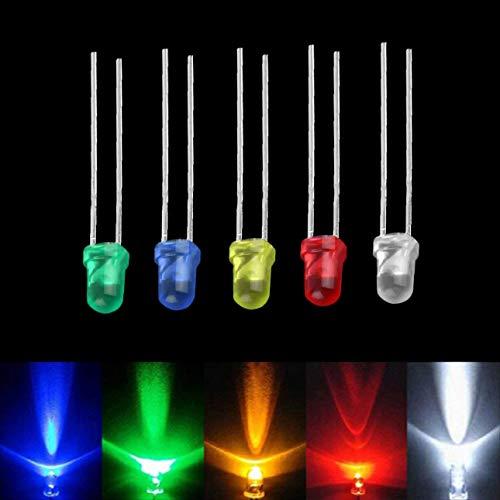 ARCELI 100 PCS Bombilla de luz LED de Cinco Colores de Alto Rendimiento Lámparas de diodo emisor de 2 Pines de Alta Potencia Kit súper Brillante Surtido de 3 mm