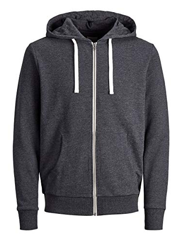 Jack & Jones Jjeholmen Sweat Zip Hood Noos Sudadera, Gris (Dark Grey Melange), Medium para Hombre