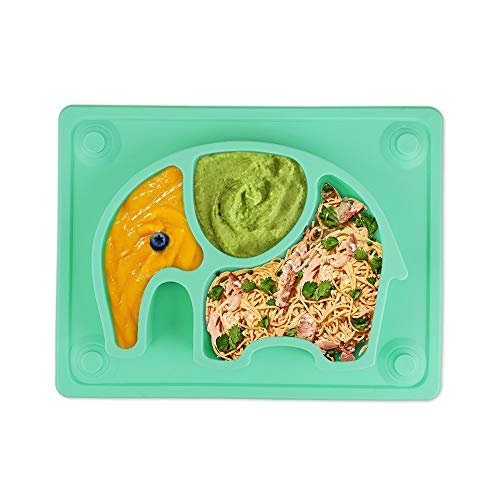 Baby Teller, Silikon Rutschfester Baby Tischset mit Saugnäpf für Baby Kleinkind und Kinder,Kinderteller passend für die meisten Hochstuhl-Tabletts-26 x 20 x 3 cm (Grün)