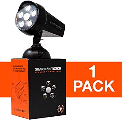 GUARDIAN TORCH - Home Security Spotlight (1 Pack) Solar Powered - 120° Motion Sensor - Waterproof Outdoor Floodlight - 5 Bright LED Lights - Dusk to Dawn