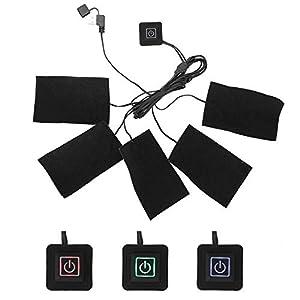 Almohadilla térmica eléctrica portátil USB, Paño Calefactor eléctrico, ropa eléctrica, cinco almohadillas calefactoras, elemento de calefacción, temperatura ajustable, herramienta de calor