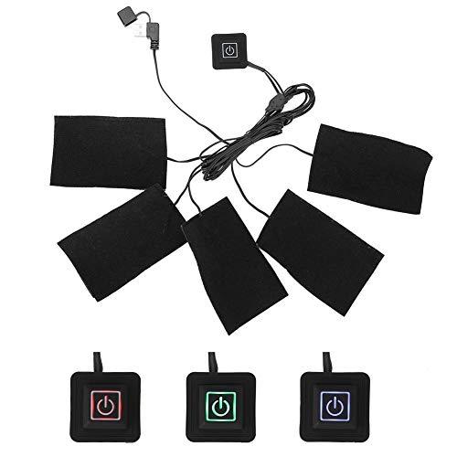 Paño calefactor USB para chaleco calefactable, ropa eléctrica, cinco almohadillas calefactoras, elemento de calefacción, temperatura ajustable, herramienta de calor