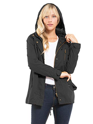 Design by Olivia Women's Military Anorak Safari Hoodie Jacket Black3 XL