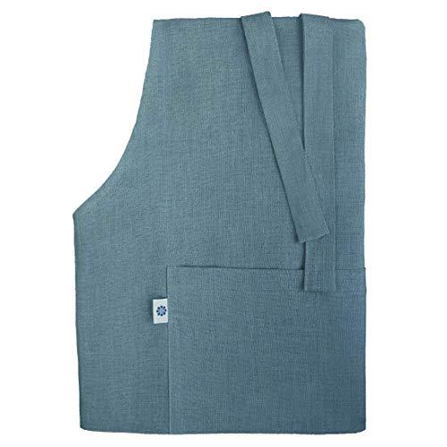Linen & Cotton Tablier de Cuisine pour Homme Femme de Luxe Kami, 100% Lin - Bleu (70 x 100cm)