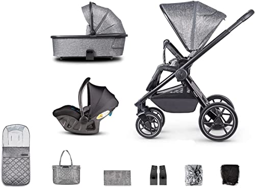 Venicci Tinum 3 in 1 Travel System Lightweight Pram and Pushchair | 12pc Bundle of Car Seat, Carrycot, Rain Cover and More for Baby Smooth Riding from Birth Until 22kg - Grey
