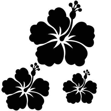 kdosublim h001 3 Fleurs d'hibiscus, Noir, Une de 15, Une de 12et Une de 8cm