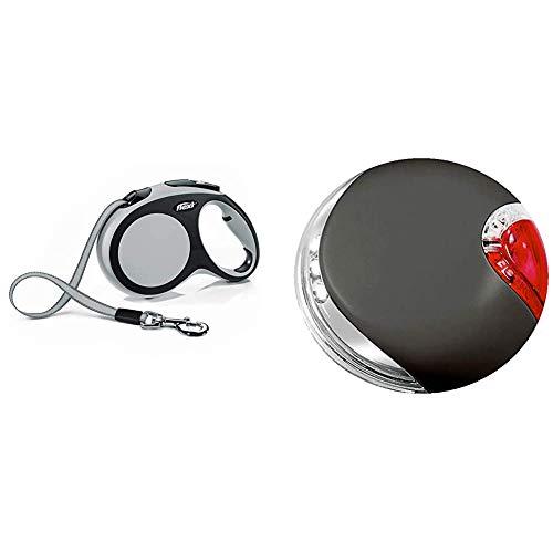 flexi New Comfort L Gurt 8 m grau für Hunde bis 50 kg & LED Lighting System schwarz