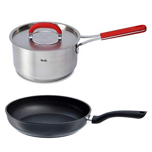フィスラー (Fissler) フライパン 鍋 セット セニット IH 24cm、 レッドハンドル ソースパン 18cm、 ステン...
