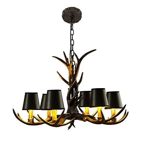 EFFORT INC Antlers Vintage stijl hars 6 licht kroonluchter, Amerikaanse landschap gewei kroonluchter, woonkamer, bar, café, eetkamer hertshoorn kroonluchter