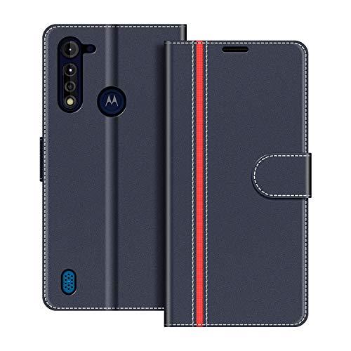 COODIO Handyhülle für Motorola Moto G8 Power Lite Handy Hülle, Motorola Moto G8 Power Lite Hülle Leder Handytasche für Motorola Moto G8 Power Lite Klapphülle Tasche, Dunkel Blau/Rot