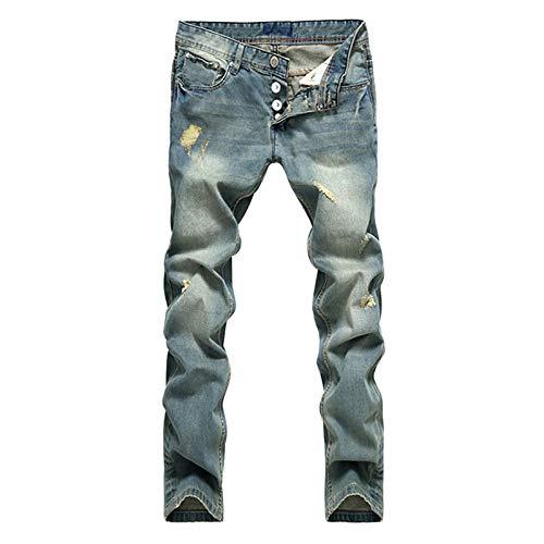 ShFhhwrl Vaqueros de Moda clásica Estilo Europeo Americano Popular Moda Jeans Agujero Famosa Marca Empalmado Jeans Straight Mens