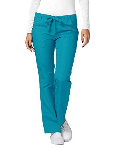 Adar Universal Scrubs For Women - Drawstring Straight Leg Scrub Trousers - 510 - Teal Blue - L