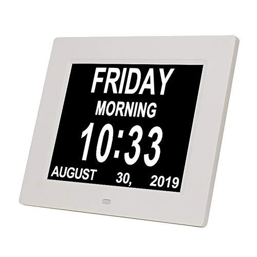 Elektronische Uhr, 8-Zoll-Smart-Fotorahmen Digitaluhr Tag Monat Jahr LED/Monat Tag Jahr Datumsanzeige 8 Sprachen Klar Und Leicht Zu Lesen,Weiß