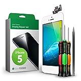 GIGA Fixxoo Kit Completo de Reemplazo de Pantalla iPhone 5 LCD Blanco; con Touchscreen, Cristal Retina Display, cámara y Sensor de proximidad - Fácil instalación y reparación guiada DIY