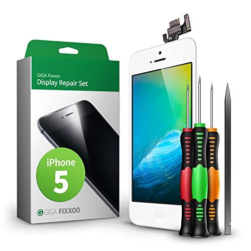 GIGA Fixxoo Kit di Ricambio per Schermo di iPhone 5, Completo con LCD Bianco, Touch Screen Display Retina in Vetro, Fotocamera e Sensore di Prossimità - Guida per Riparazione Facile & Veloce