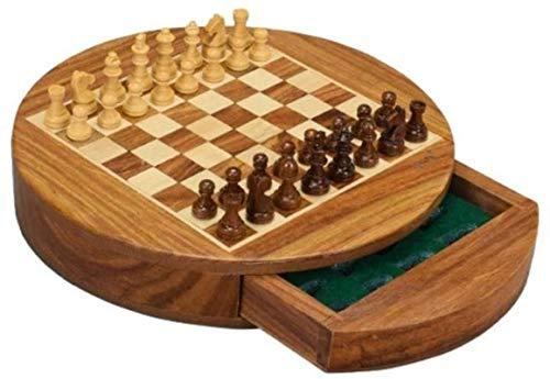 MWKLW Juego de ajedrez de Madera magnetizada Estilo Nogal con Incrustaciones de ajedrez Staunton con Piezas de ajedrez de Madera Staunton