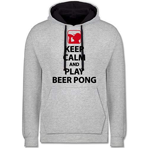 Festival - Keep Calm and Play Beer Pong - 3XL - Grau meliert/Navy Blau - JH003_Hoodie_Unisex - JH003 - Hoodie zweifarbig und Kapuzenpullover für Herren und Damen