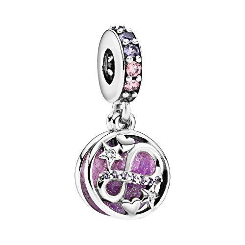 Orecchini in argento Sterling con zirconi rosa e viola e rosa trasparente, rosa lavanda e argento