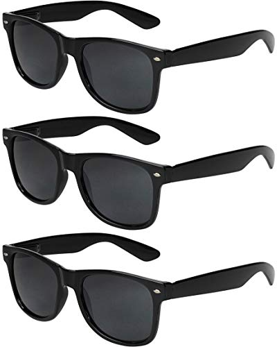 X-CRUZE® - Pack de 3 gafas de sol nerd retro vintage unisex hombre mujer gafas nerd - Set B - Negro