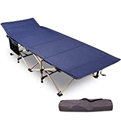 REDCAMP 71x190cm Klappar Campingsäng för vuxna, Extra Bred Vikbar Fällbar Säng Fält Camping Säng Campingsäng för Utomhus trädgård Inomhus, 226 kg Lastbar, Blå