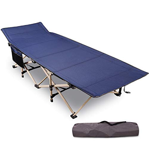 "REDCAMP Folding Camping Cots for Adults Heavy Duty, 28"" Extra Wide Sturdy Portable Sleeping Cot for Camp Office Use, Blue"