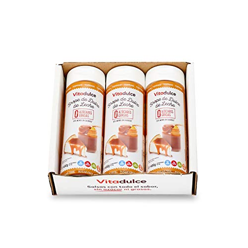 Milchkaramellsirup ohne Zucker, Milchkaramelltopping, kalorienarmer Sirup 400gr. Pack 3 – Vitadulce