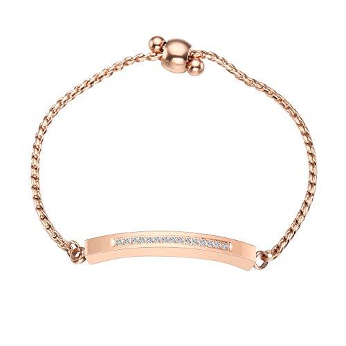 Zysta Edelstahl AscheSchmuck- Verstellbar Urne Armband Locket Armreifmit Strass Armkette fürMemorial+ Trichter füllen Kit (rosegold)