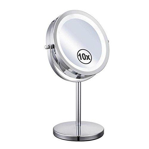 CanKun Miroir de maquillage lumineux rond de LED 10x Miroir de vanité cosmétique de 7 pouces - Haute définition de rotation naturel rotatif détachable à 360 ° de LED pour le rasage de beauté