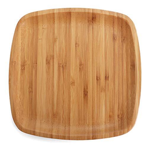 Belari 10' Bamboo Plate Set - Bamboo Reusable Plates - Square Bamboo Plates - Wood Plates Dinnerware - Bamboo Dinner Plates - Bamboo Dinnerware Set - Eco Friendly Plates (4 Pack / 10' Square)