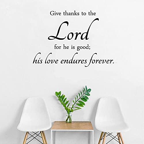 SSCLOCK Etiqueta de la Pared del Verso de la Biblia Desmontable Regalo del Dormitorio para el Señor Su Amor Dura para Siempre 56x40cm