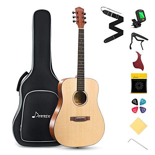 Donner Akustik Gitarre 4/4 Set in voller Größe, Dreadnought Akustikgitarre Anfänger 41 Zoll Mahagoni Fichte mit Tasche Capo Plektren Gurt Saiten (Natur, DAG-1)