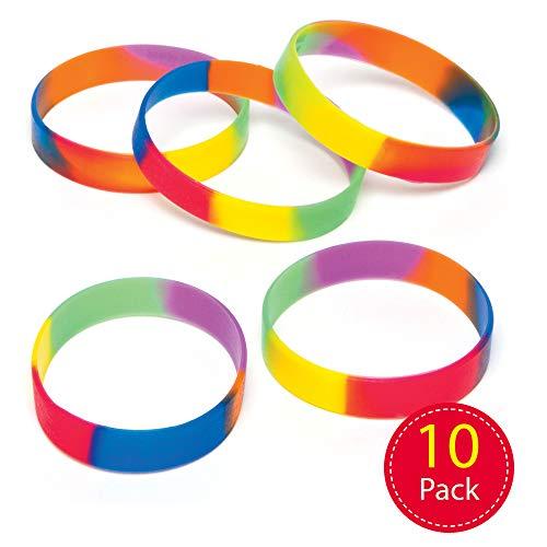 Baker Ross AG758 Regenboog-armbanden van rubber voor kinderen als kleine verrassing of als prijs bij partyspelletjes (10 stuks)
