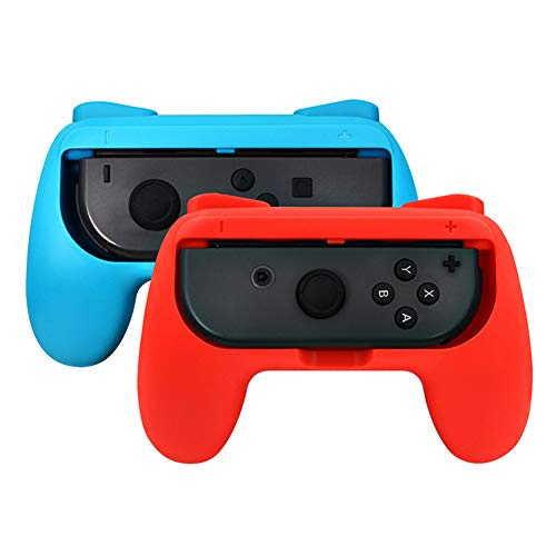 Oumij1 Games Grips Ergonomic Games Handle Grips Antiwear Controller Protective Cover Fit for Nintendo Switch Joy‑Con(red and Blue)