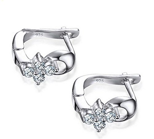 Boowhol 925 Sterling Silver Small Flowers Earrings Hoops for Women and Girls