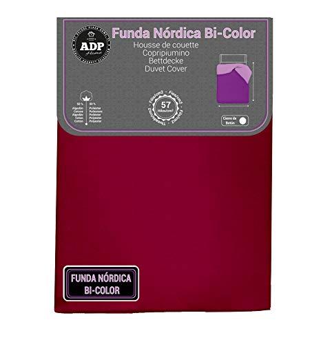 ADP Home - Funda nórdica Bi-Color, Calidad 144 Hilos, 12 Combinaciones, Cama de 135 cm - Color: Granate y Beige
