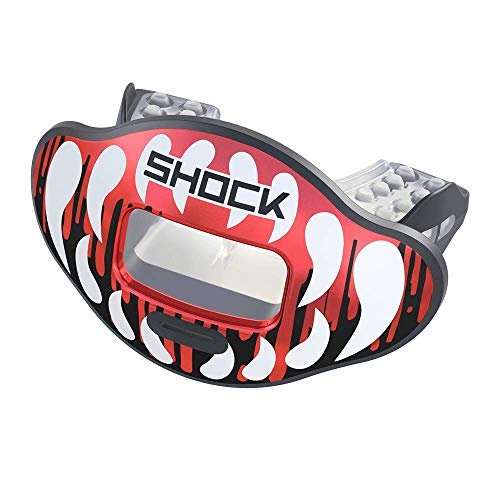 Shock Doctor Fang Max Airflow Football Mouthguard - Chrome Red/Black Fang - 350190FNG